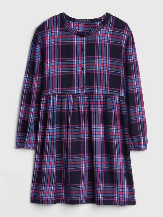Kız Çocuk mavi kareli Uzun Kollu Ekose Elbise