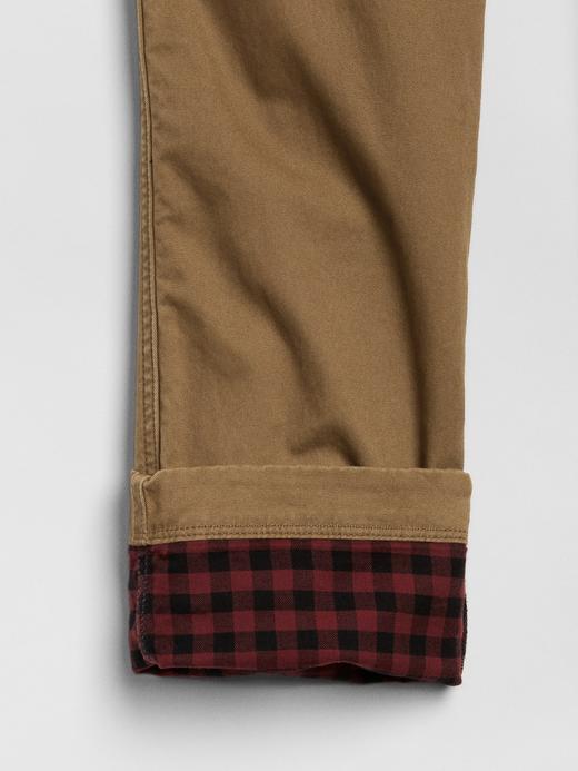 Slim Fit Ekose Astarlı GapFlex Khaki Pantolon