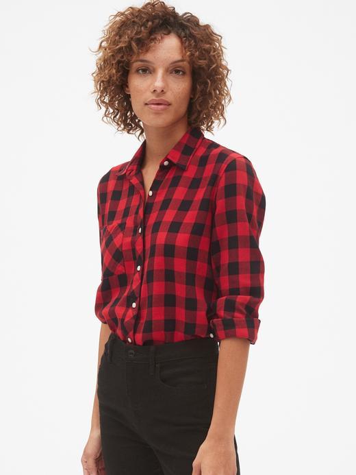 Kadın kırmızı ekose Ekose Gömlek