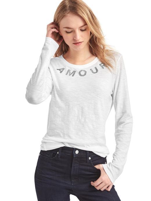Amour İşlemeli Uzun Kollu T-Shirt