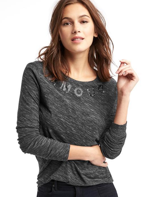 kırçıllı gri Amour İşlemeli Uzun Kollu T-Shirt