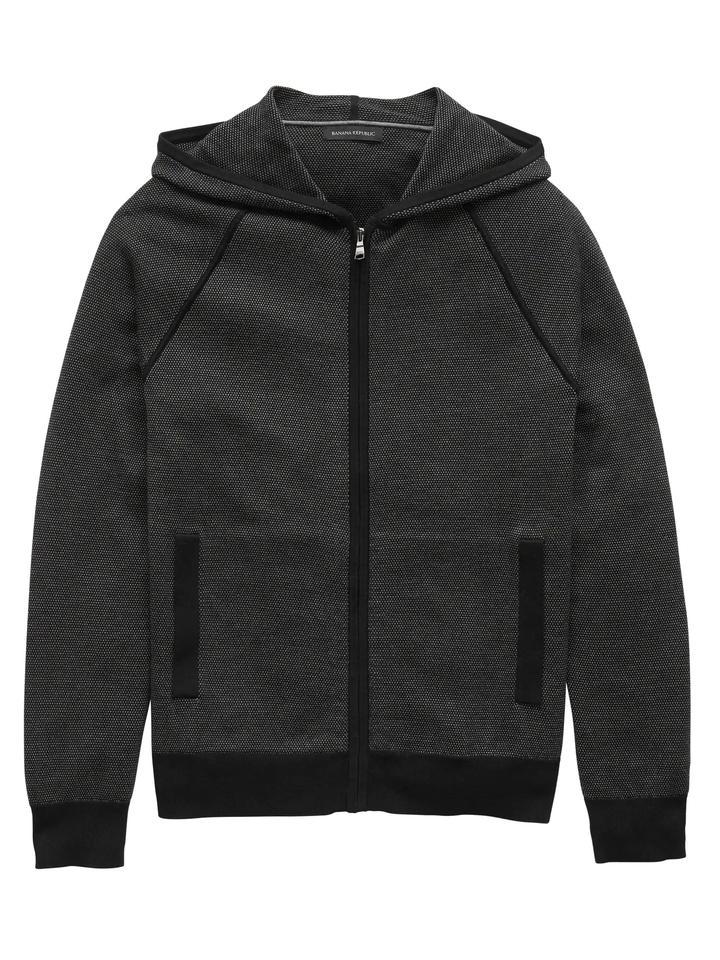 Erkek siyah Supima® Pamuklu Fermuarlı Sweatshirt