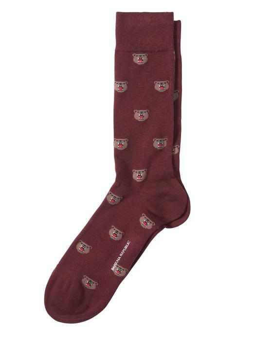Erkek bordo Ayı Desenli Çorap