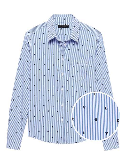 Kadın mavi Quinn Boy-Fit Çizgili Gömlek