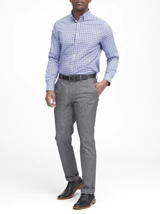Erkek koyu lacivert Slim Fit Tech-Stretch Pamuklu Ekose Gömlek