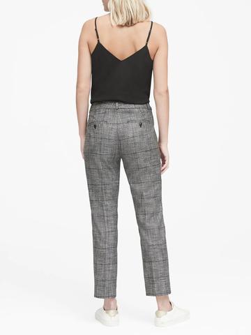 Kadın siyah/gri Avery Straight-Fit Ekose Pantolon