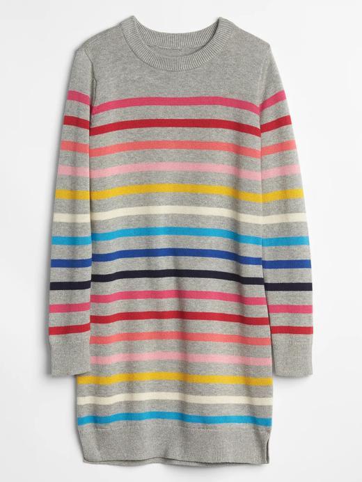 Renkli Çizgili Kazak Elbise