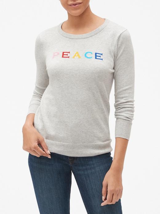 Peace Desenli Sıfır Yaka Kazak