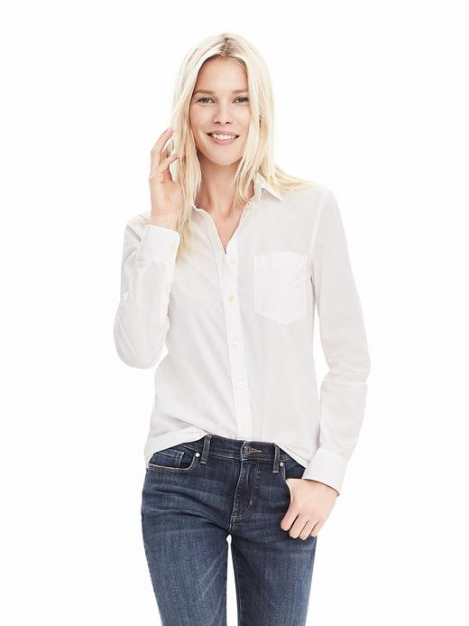 Kadın Beyaz Dillon-Fit Cepli Gömlek