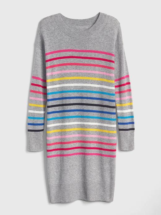 Renkli Çizgili Sıfır Yaka Kazak Elbise