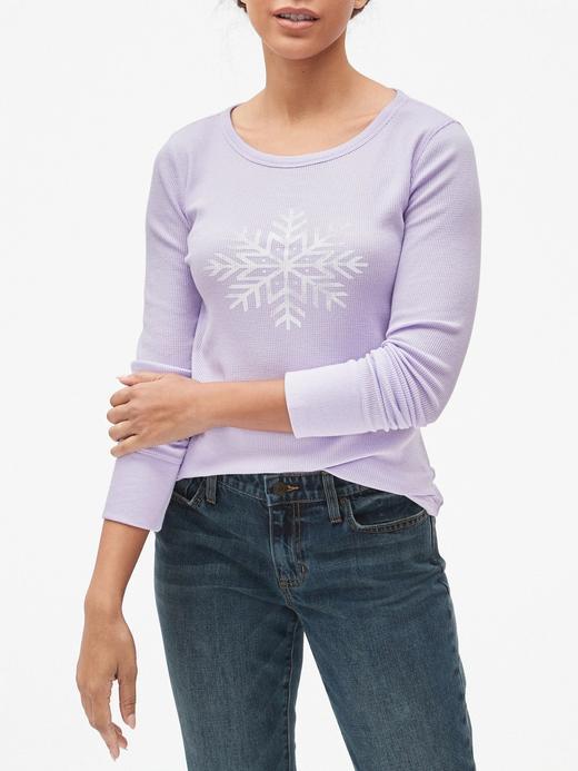 Kar Tanesi Desenli Uzun Kollu Termal T-Shirt