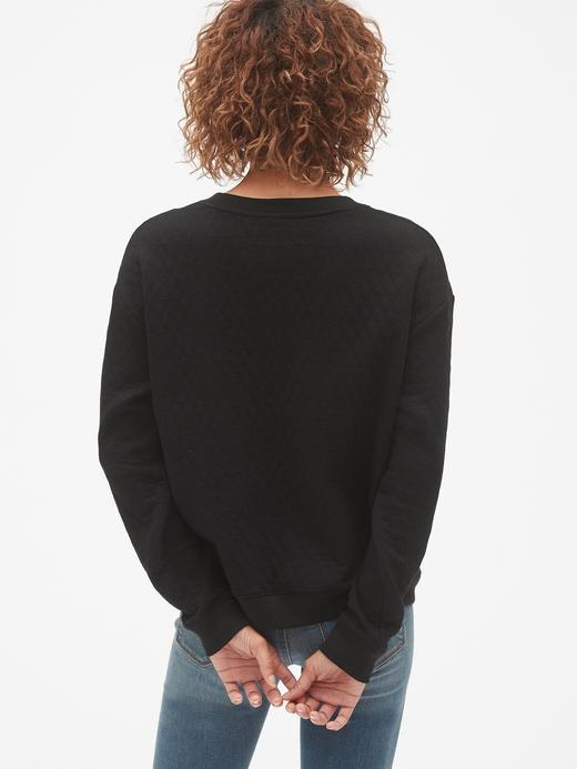 Kadın Siyah Kapitone Havlu Kumaşı Sweatshirt
