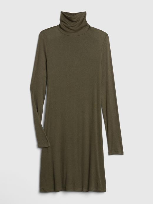 Kadın Beyaz Desenli Uzun Kollu Boğazlı Elbise