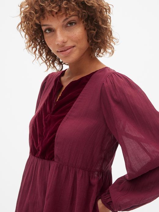 Kadın Lacivert Kadife Detaylı Uzun Kollu Bluz