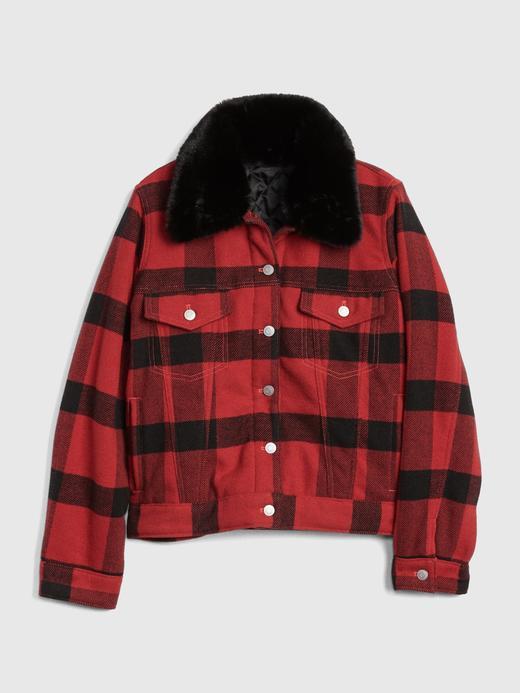 Çıkarılabilir Yakalı Ekose Ceket