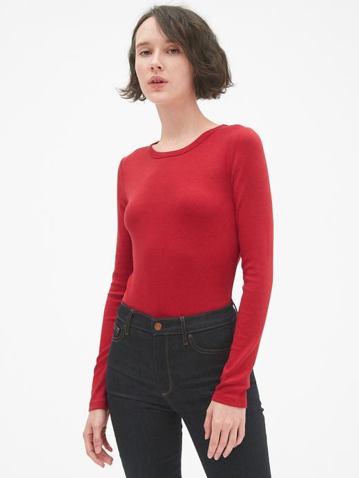 Kadın Kırmızı Uzun Kollu Sıfır Yaka T-Shirt