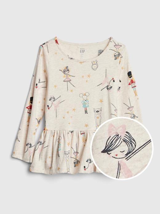 Desenli Peplum T-Shirt