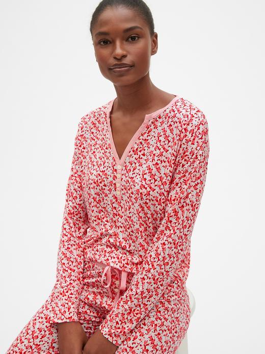 Uzun Kollu Modal Karışımlı Pijama Üstü