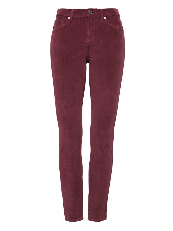 Kadın bordo Kadife Skinny Pantolon