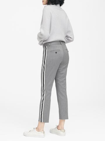 Kadın lacivert Avery Straight-Fit Yanları Çizgili Bilek Hizasında Pantolon