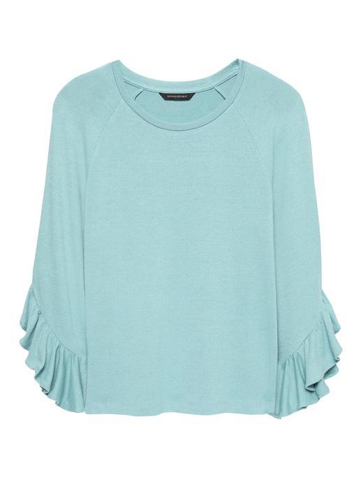 Kadın turkuaz Luxespun Fırfır Kollu T-Shirt