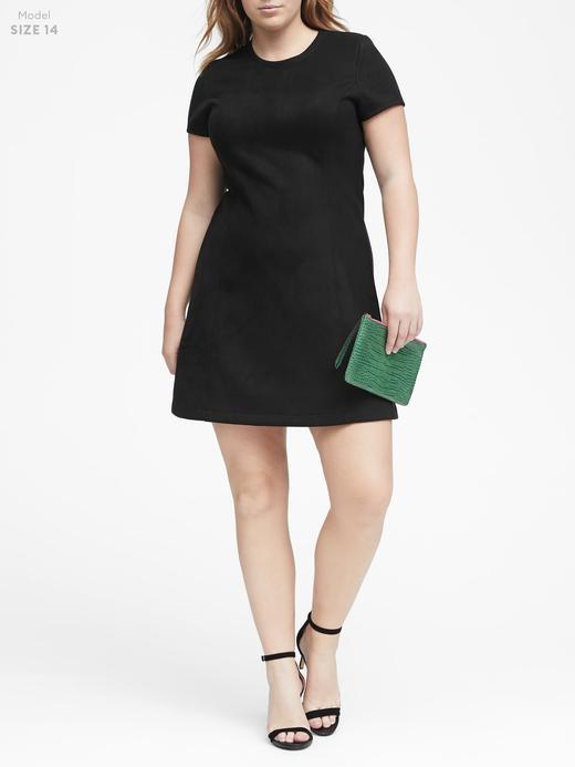 Kadın siyah Streç Vegan Süet Mini Elbise