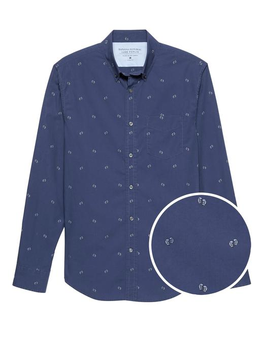 Erkek lacivert Grant Slim-Fit Luxe Poplin Desenli Gömlek