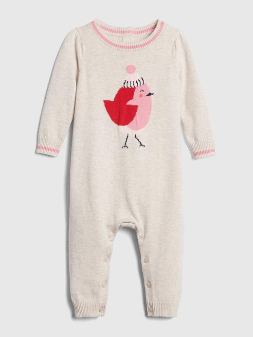Bebek bej Kuş Desenli Tulum