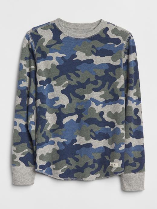 Kumuflaj Desenli Uzun Kollu T-Shirt