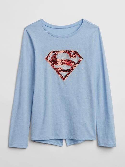 Kız Çocuk kırçıllı mavi GapKids | DC™ Wonder Woman Değişen Pullu T-Shirt