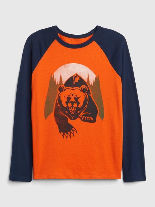 Erkek Çocuk Turuncu Baskılı Uzun Kollu T-Shirt
