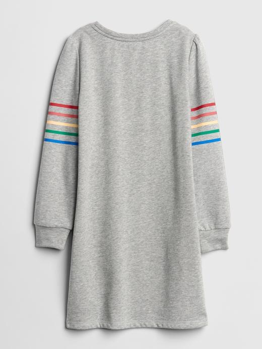 Kız Çocuk gri Baskılı Uzun Kollu Elbise