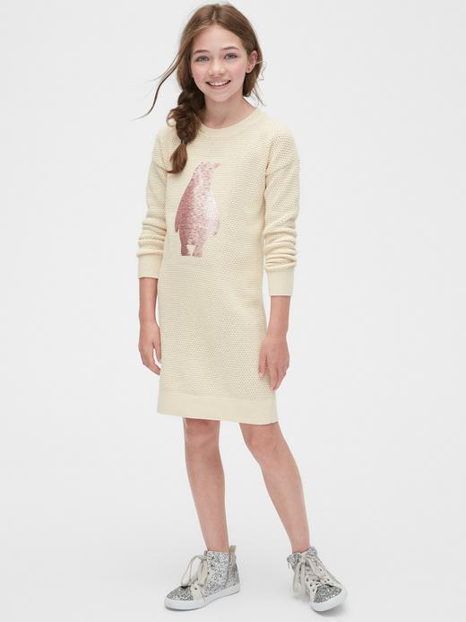 Kız Çocuk Bej Pullu Penguen Desenli Kazak Elbise