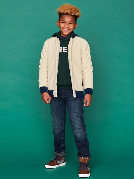 Erkek Çocuk Kırmızı Baskılı Kapüşonlu Kazak