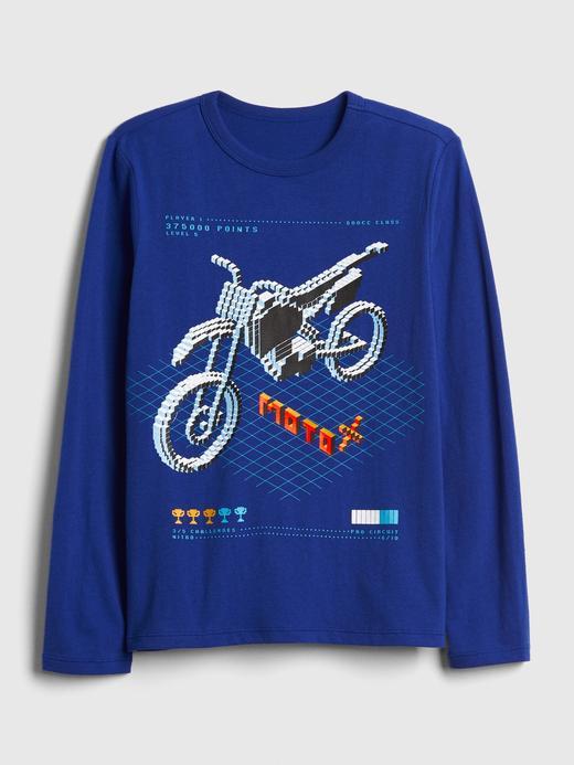 Erkek Çocuk mavi Baskılı Uzun Kollu T-Shirt