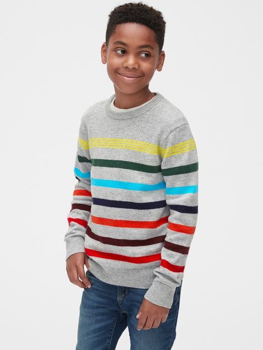 Erkek Çocuk kırçıllı gri Renkli Çizgili Kazak