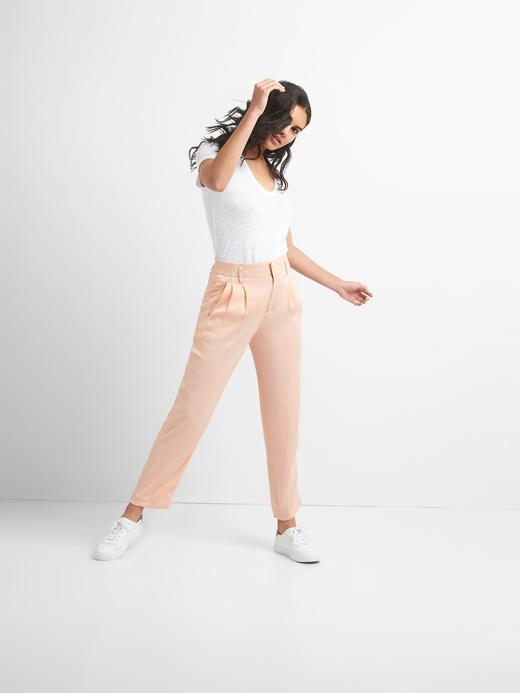 Kadın açık turuncu Saten Pantolon