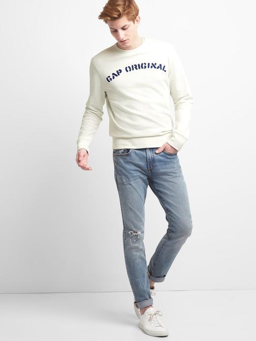 lacivert Logolu Havlu Kumaşı Sweatshirt