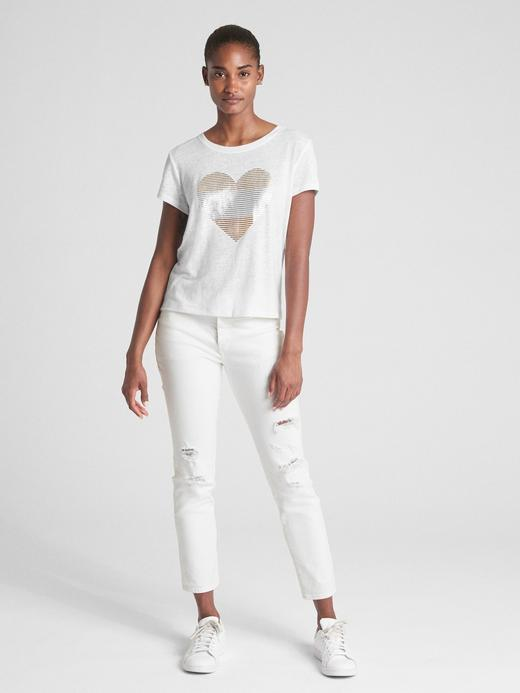 beyaz Sıfır Yaka Keten Karışımlı Metalik Baskılı T-Shirt
