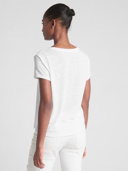 Sıfır Yaka Keten Karışımlı Metalik Baskılı T-Shirt