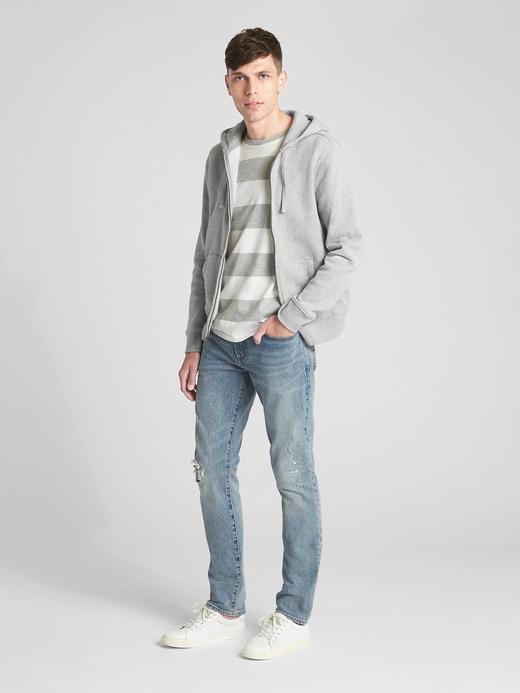 Vintage Fermuarlı Kapüşonlu Sweatshirt