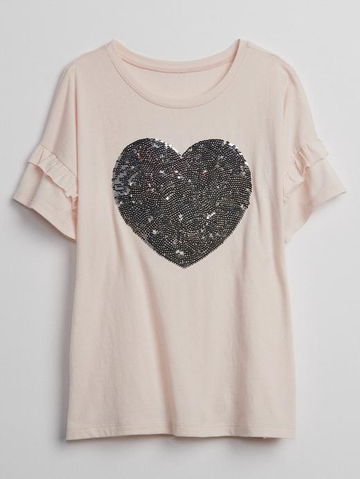 Değişen Pullu Fırfır Kollu T-Shirt