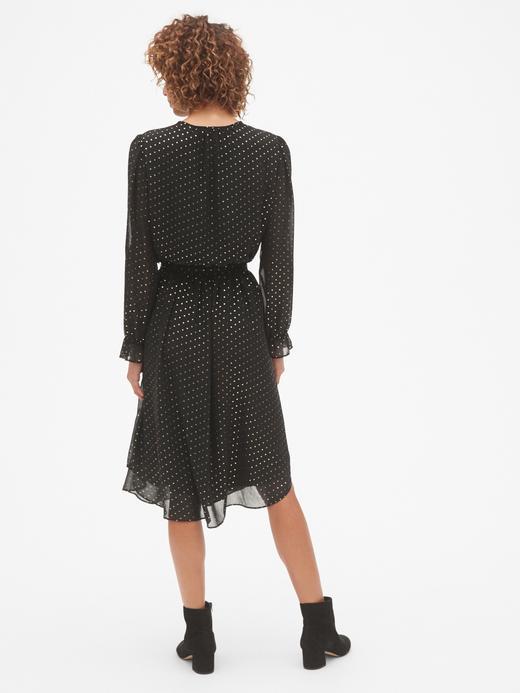 Metalik Desenli Uzun Kollu Midi Elbise