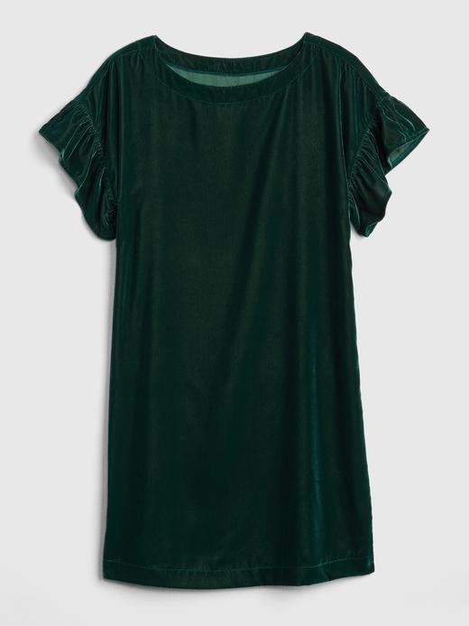 Kısa Kollu Kadife Elbise