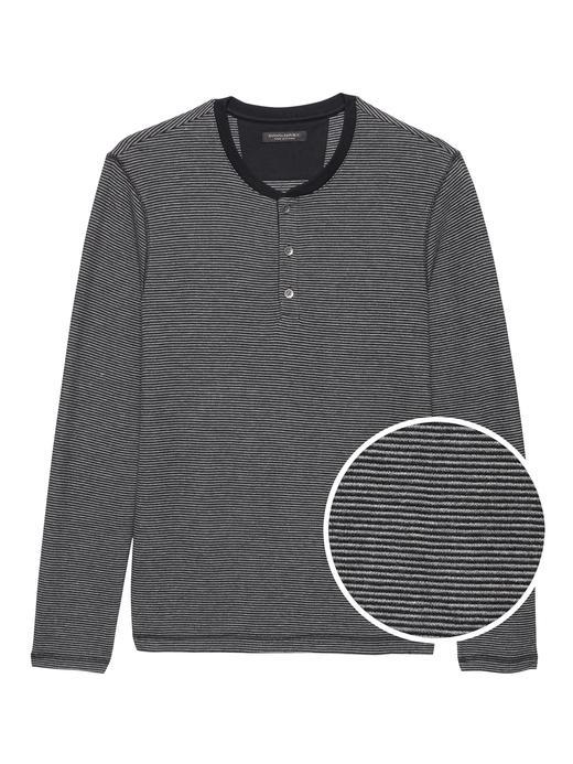 Erkek siyah Uzun Kollu Henley T-Shirt