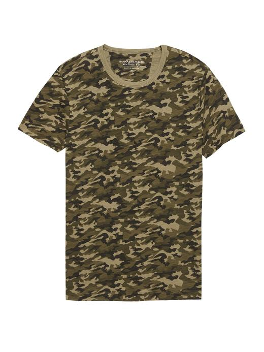 Vintage Saf Pamuklu Kamuflaj Desenli Sıfır Yaka T-Shirt