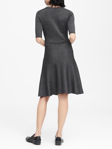Kadın Gri Metalik Triko Elbise