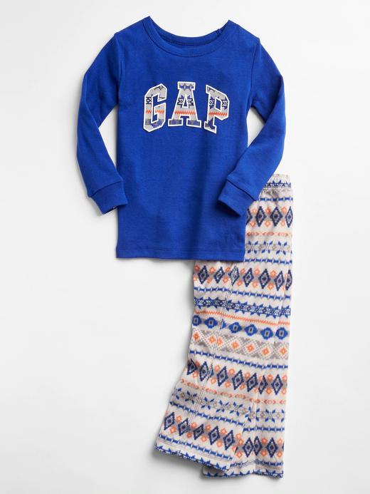 Bebek mavi Logolu Baskılı Pijama Takımı
