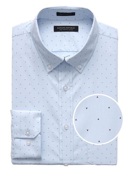 Erkek mavi Slim-Fit Streç Pamuklu Gömlek
