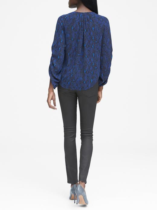 Kadın kraliyet mavisi Desenli Uzun Büzgülü Kollu Bluz
